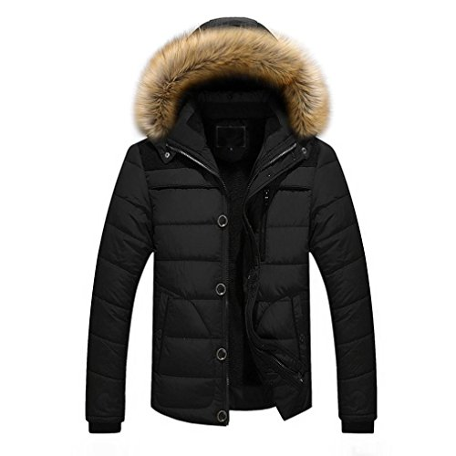 nner Outdoor Mantel Warm Winter dick Jacke Plus Faux Pelz Kapuzenmantel Herren Winterjacke Parka Sweatjacke Steppjacke Jacke Sportjacke Wärmejacke Jacke Parka Gesteppt (M, Black) (Gesteppte Faux Leder Moto Jacke)