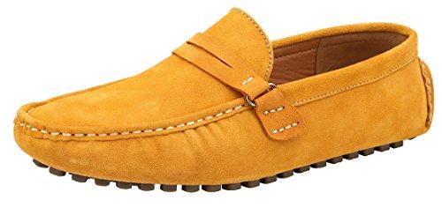 JIONS Herren Mokassin Bootsschuhe Flache Slippers Wildleder Loafers Fahren Halbschuhe Gelb-A