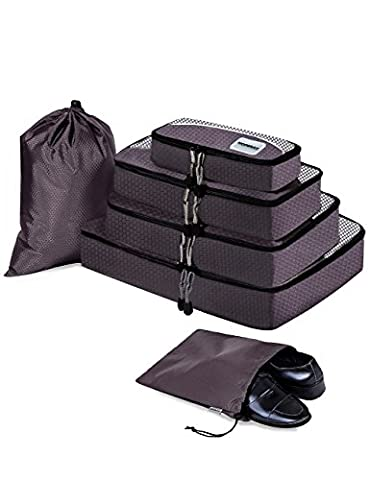 HOPERAY Packing Cubes Travel Organizer Mesh Bags - 6 pcs Lightweight Set Travel Gear Bag Accessories for Women Men Kids Carry-on Luggage Suitcase and Backpacking Slim Medium &