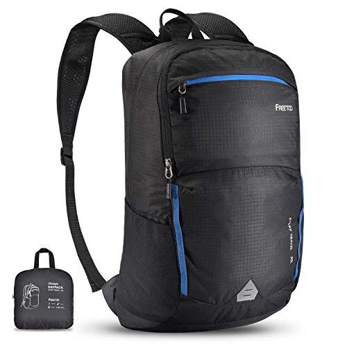 FREETOO 35L Leichter Faltbarer Rucksack, Wasserdichter Wanderrucksack für Damen Herren, Ultraleicht Tagesrucksack mit Wet Dry Bag und Wassertaschenloch für Outdoor