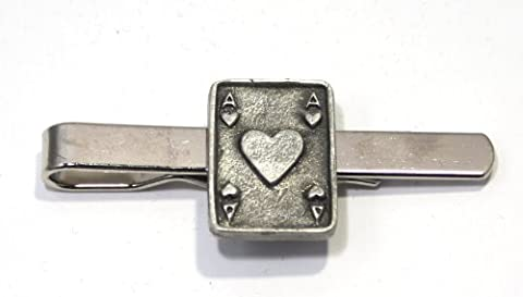 Hoardersworld Ace Of Hearts Playing Card Tie Clip (Slide) By Hoardersworld, Handmade In English Pewter