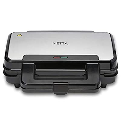 NETTA Sandwich Toastie Maker, Sandwich Toaster, Full Size Deep Fill Sandwich Maker with Non-Stick Plates, Easy Clean - 900W, Stainless Steel/Black