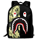 Sacs à Cordon,Sacs de Sport,Sacs à Dos Loisir, Bape Blood Shark Half Green Camo Backpack College School Travel Bags Waterproof Shoulder Backpacks for Men Women