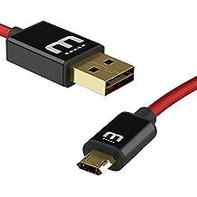 micflip 2.0Totalmente [Micro USB y USB estándar] Reversible Cable Micro USB Galaxy S6S7edge quickcharge trenzado 200cm Rojo Y Negro