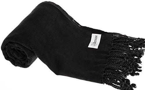 Bersuse 100% Baumwolle - Zuma Türkisches Handtuch - OEKO-TEX zertifiziert - Badestrand Fouta Peshtemal - Steingewaschene auf Handwebstuhl gewebte Pestemal - 85 X 170 Schwarz (Dye Terry Tie)
