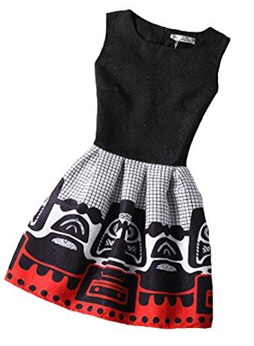 Blansdi Femme Elegant Rétro Hepburn' Classique Robe de Soirée/Cocktail/Cérémonie /Mine jupe Col rond sans Manches Chic motif différent graffiti et Noir