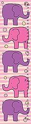 Green Leaf Art Growth Chart, Pink and Purple Elephants