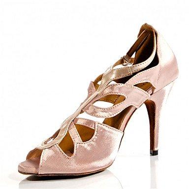Silence @ pour femme Chaussures de danse latine/Jazz/Chaussures de swing/Salsa/Samba satiné Talon Noir/rose/rouge Red