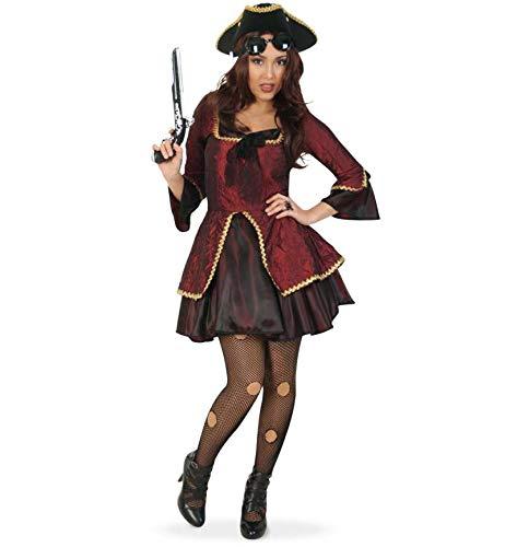 KarnevalsTeufel Damenkostüm - Set Madame Paris, 5-teilig Kleid, Hut, Spielzeug-Pistole, Brille und Strumpfhose | Größe 34 - 42 | Renaissance, Barock, Piratin, Steampunk (34)