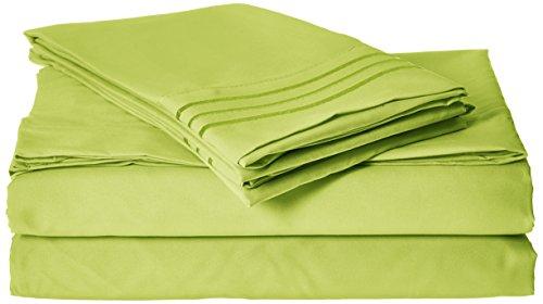 Eleganten Komfort 1500Fadenzahl Ägyptische Qualität Super Weich knitterfreies 3-teilig-Bettlaken-Set, Lime-Green, Twin/Twin XL
