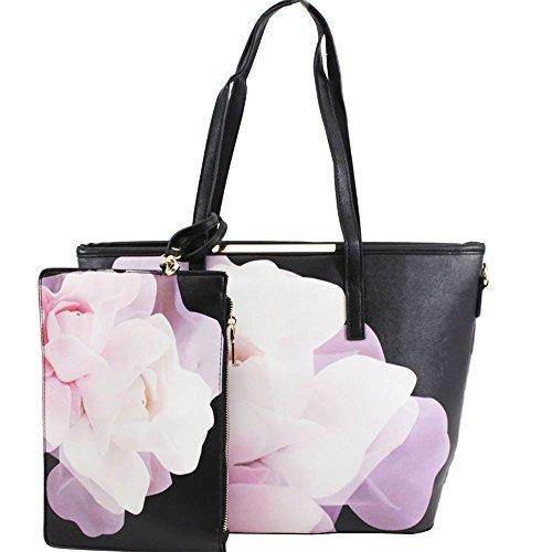 NEU Blumenmuster Kunstleder Aufdruck Large Set Tasche 5 Damen Schmetterling Clutch Handgelenk Schultertasche 3 ZZdqrxE