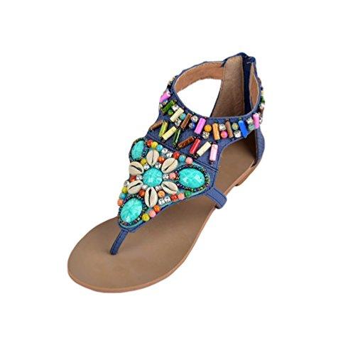 NiSeng Femme Bohême Sandales Plat T-Strap Nu-Pieds Femme Strass Chaussures De Plage Été Vintage Peep Toe Tongs Flip Flops Bleu