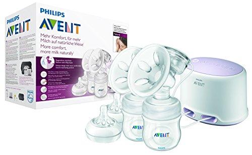 Philips Avent SCF334/02 Elektrische Komfort-Doppelmilchpumpe mit Naturnah-Flaschen