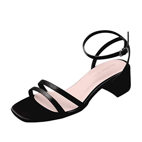 Lilicat Sandali con Cinturino alla Caviglia Donna Sandali A Punta Aperta con Tacco Medio Sandali col Tacco metà (Nero B,38 EU)