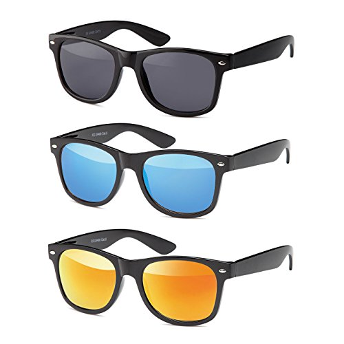 MOKIES Unisex Sonnenbrillen - UV400 Filterkategorie 3 CE Kennzeichnung - Wayfarer Design - Polycarbonat - mit Federscharnier - A-SET Grau, Blau, Rot