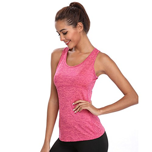 Joyshaper Training Top Damen Quick Dry Kompression Sport Tanktop Sportshirt Trainingsshirt Shirt T-Shirt für Yoga und Fitness Running Top Weste Vest (Pink, Large)