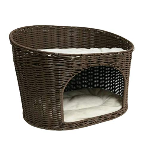 Haustierbettkorb Doppelschicht Luxus Harz Rattan Hundekorb-Sofa Mit Kissen (Color : A, Size : 50x36x52cm) -