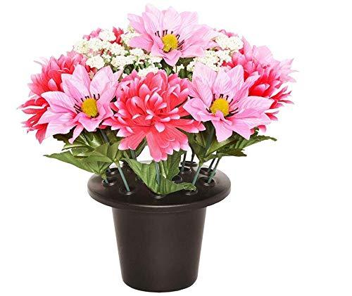 suluxin Blumen-Weinlese-Künstliche Hauptdekorationchrysanthemum & Clematis Grave Flower Pot – Vase Insert Memorial