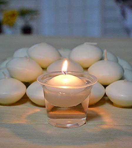 Wide.ling Wasser schwimmende Mini Kerzen Disc Unscented White-Set von 10 für Hochzeit Party Spa Home Decor