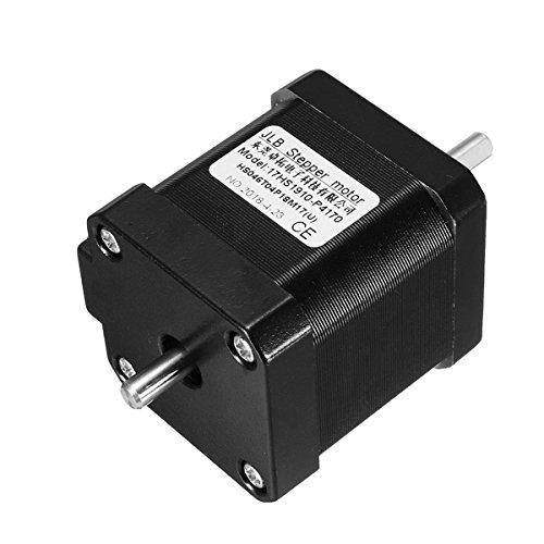 Jecenka - Motor Paso a Paso Nema 17 de Doble Eje (1,7 A, 0,55 NM, Bipolar, 4 Cables para DIY 3D Pinter CNC)