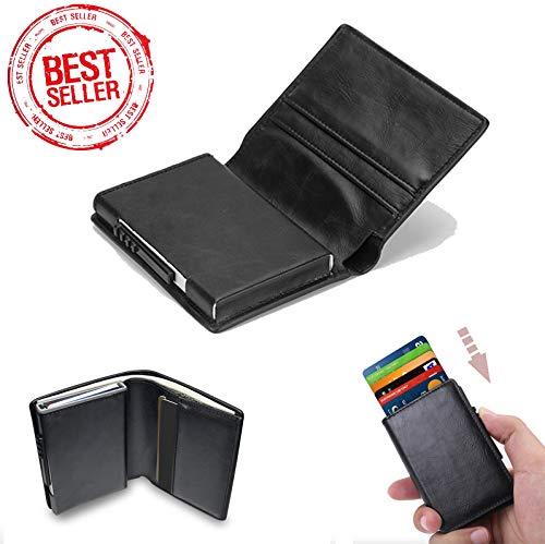 Porta carte di credito uomo,automatico pop-up per carte di credito uomo,pelle portafoglio portamonete rfid/nfc blocco (nero)