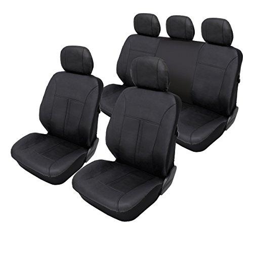 ECD Germany Coprisedili auto universali copertura protezione sedili per auto in pelle artificiale nera anteriore e posterio