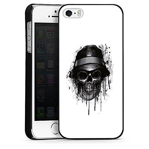 Apple iPhone 5 Housse Étui Silicone Coque Protection Tête de mort Chapeau Crâne CasDur noir