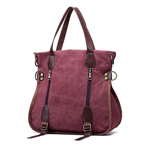Lässige Kleidung Leinwand Handtaschen Big Bags Europa Mode Trends Schulter- Messenger Handtaschen Einkaufstasche PurpleColor