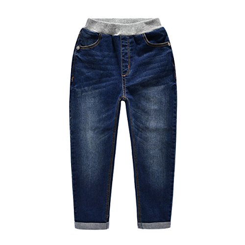 NABER Kids Boys' Casual Elastic Waist Denim Blue Washed Jeans Ages 4-13 Years