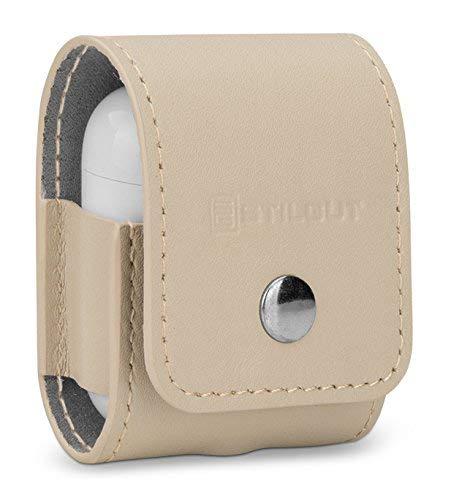 StilGut Case aus Leder kompatibel mit Apple AirPods, Creme Nappa