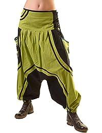 Unisex Psy Baggy Pants Hippie Hose Goa Baumwoll Tanzhose mit Schnürung