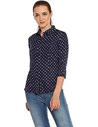 cb71b5e0107ff ITSYOR Polka Dotted Blue Long Sleeve Casual Shirt for Women