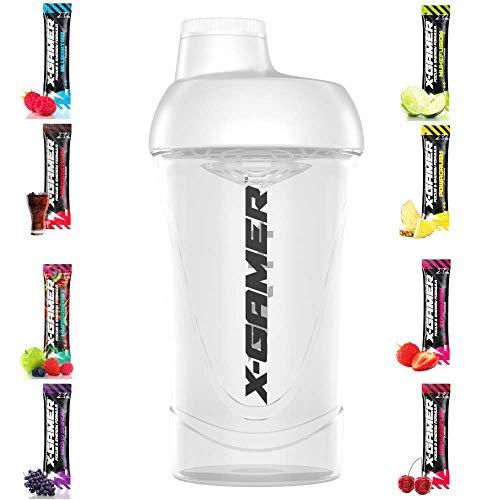 X-Gamer - Shaker + X-shotz - Energy Drink - Gaming Booster Pulver - Shake It Yourself (Shaker 5.0 Transparent + 8 X-Shotz) -