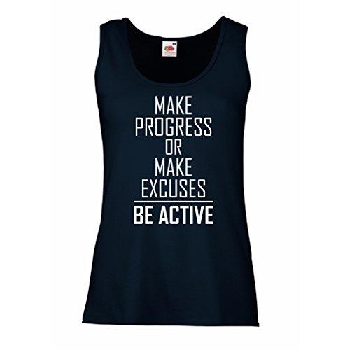 """lepni.me Damen Tank-Top """"Be Active - leben ohne Ausreden"""" - Motivation - inspirierend tägliche Angebote für Erfolg (Medium Blau Weiß) (Junior Fitted Tank-top)"""