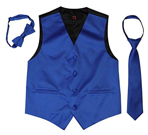 BIMARO Jungen Westenset Tim royal blau Satin Weste Krawatte Fliege Set festlich Hochzeit Taufe Kommunion , Größe:6 (116)