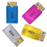 4X RFID Schutzhülle Blocker NFC Datenschutz Abschirmung EC Karte Kreditkarte Farbig