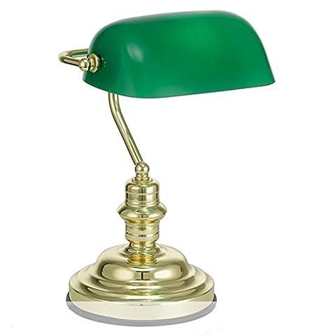 GBT classique Bankers lampe de table lampe de bureau Laiton poli Vert Abat-jour Inclinaison Head? Lampes LED, lumière chaude, éclairage Blanc, lustres, Lampes de lumières d'intérieur, extérieur, Lampes de mur?