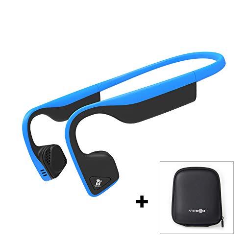 AfterShokz Trekz Titanium - Écouteurs à Conduction Osseuse avec Micro(Oreilles Libres/Open Ear),Casque Bluetooth sans Fil avec Étui de Transport, Bleu
