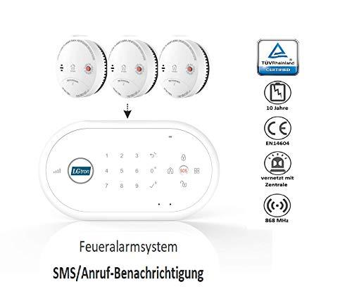 LGtron LH-99F Funk Rauch-/Hitzemelder TÜV geprüft EN14604 zertifiziert mit 10-J.-Batterie Funkrauchmelder in Vernetzbare Brandmeldeanlage SMS Anruf App Zentrale mit 3er-Rauchmelder Set