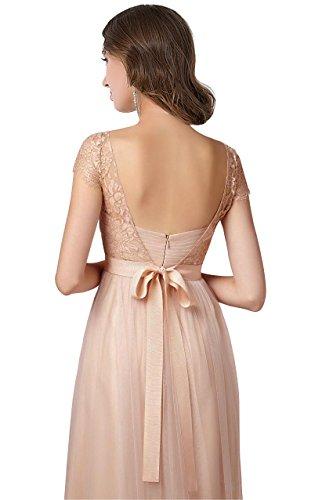 -Babyonline-Damen Spitze Applikation Ballkleid Lang Rückenfrei Abendkleid Brautjungfernkleid Cocktailkleid 7 Farben Schwarz
