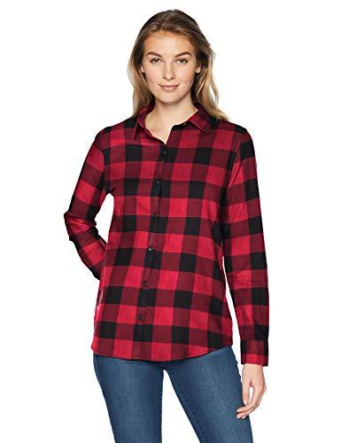 Amazon essentials Damen Langarm kariertes Flanellhemd,Rot (red buffalo check), Small