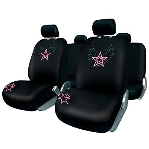 BCCORONA FUK10401 Set coprisedili per Auto, 11 Pezzi. BC Corona. Modello Ibiza. Colore Nero/Rosa. Parte Posteriore Divis