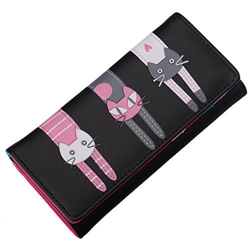 ZXK CO Portafoglio Donna,Portafoglio da Donna Pulsanti Magnet Centralino Telefonico Slot per Schede ID Finestra Disegno del Gatto Borsa PU per Mobile 5 Pollici iPhone 6 / 6S-Nero