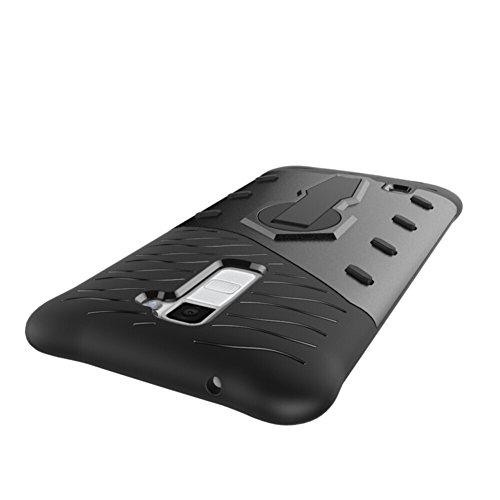 Für LG K10 Case Tough Hybrid Heavy Duty Schock Proof Defender Cover Dual Layer Rüstung Combo Mit Swivel Stand Schutzhülle Fall ( Color : Silver ) Black
