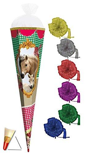 Preisvergleich Produktbild mit SOUND ! Schultüte - Pferde 85 cm 6 eckig - incl. SCHLEIFE mit Holzspitze / Tüllabschluß - Zuckertüte Roth Pferd Horse Hengst Fohlen Karo Tiere Tier
