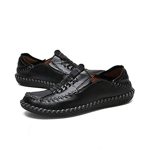 Leanax Freizeit Tourismus Schuh Weiche Atmungsaktive Bootsschuhe Vater Geschenk Modetrend Schuh For Männer Slip On Leder Gummisohle Nähprozess Lässig Leicht For Reisen Im Freien -