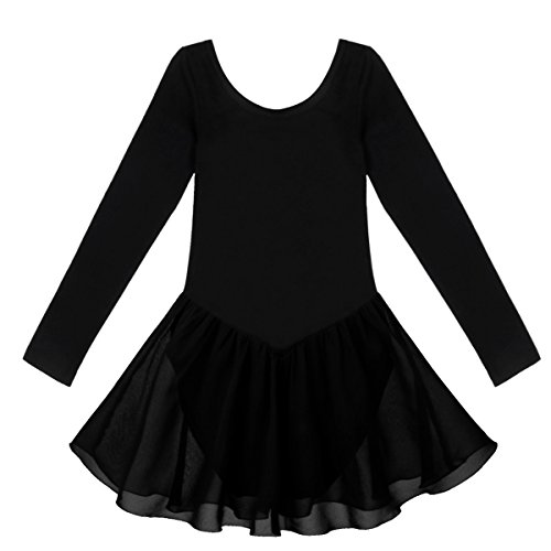 YiZYiF Mädchen Ballettkleid Ballettanzug Trikot Turnkleid Langarm Kleid mit Chiffon Rock in Rosa, Blau, Lavendel, Weiß, Schwarz Schwarz 128-140