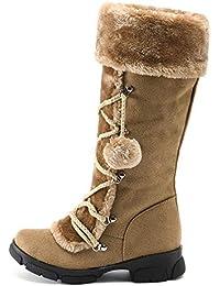 ZODOF Las Mujeres de Gamuza Bola de Pelo Punta Redonda Zapatos de tacón Cuadrado Mantener Caliente Cremallera Botas para la Nieve