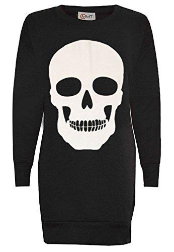 Women's Ladies Skull Print Halloween Long Sweatshirt Jumper (Ladys Kostüme Halloween)