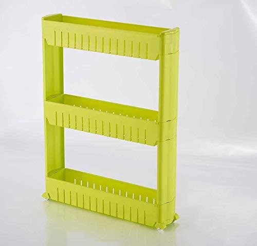 ZWJbine Küche 3-Schicht-Kunststoff-Steppgestell Küche Bad Kühlschrank Spaltlagerregal Boden montiert Abnehmbaren Joint Fertigregal (Farbe : B)